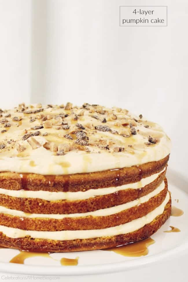 This luscious 4-layer pumpkin cake is one of our favorite desserts for the holiday season, making a beautiful presentation with layers of cake and cream. #cake #pumpkincake #layercake #Thanksgiving #Christmas #dessert