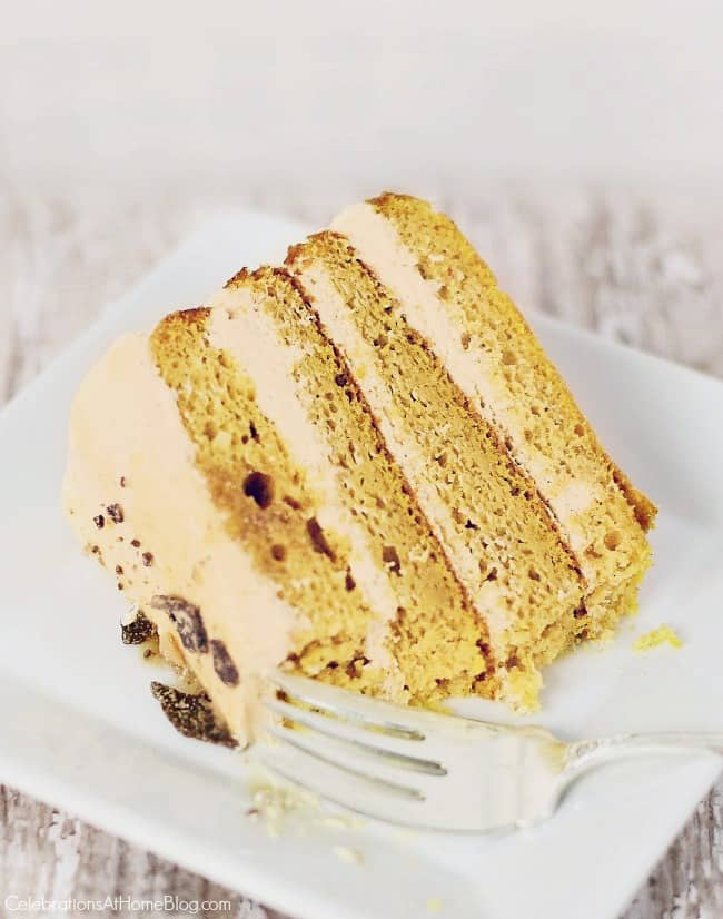 This luscious 4-layer pumpkin cake is one of our favorite desserts for the holiday season, making a beautiful presentation with layers of cake and cream.