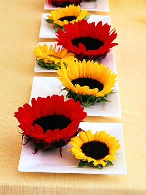 flowers in dishes centerpiece
