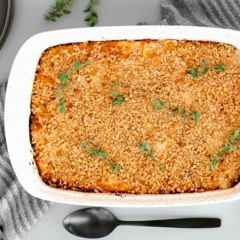 Creamy Homemade Macaroni-and-Cheese Recipe, in white dish top view