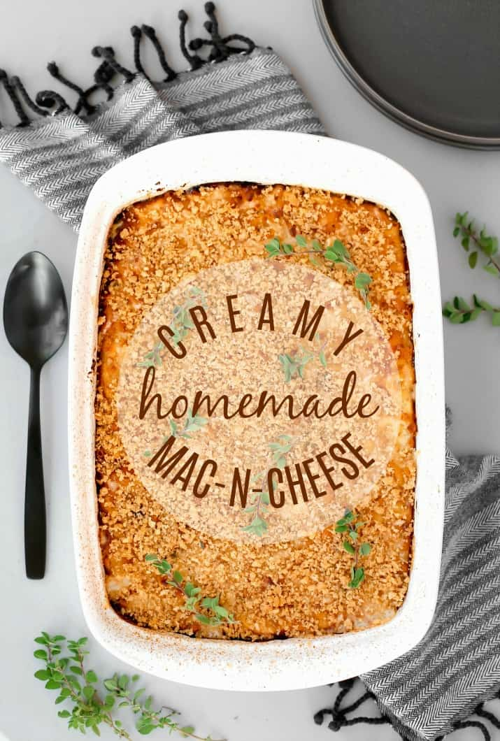 Creamy Homemade Mac-n-Cheese Recipe, in white dish top view with text overlay