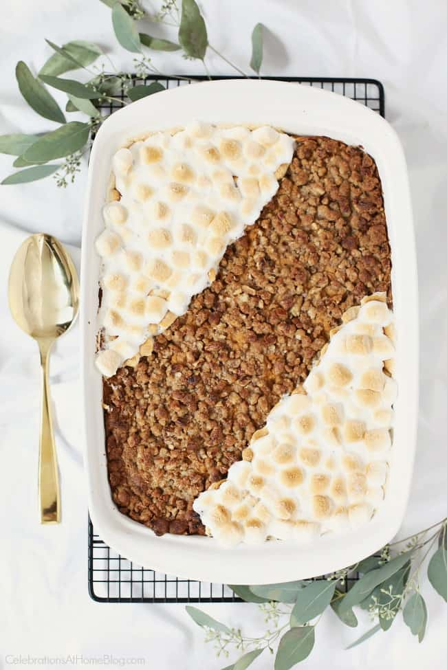 This Streusel Topped Sweet Potato Casserole is a recurring dish at our holiday gathering table. It's got the best of both worlds with streusel topping AND marshmallows! Get this Thanksgiving side dish recipe here. #sidedish #sweetpotatoes #Thanksgiving #Thanksgivingrecipe #holidayentertaining