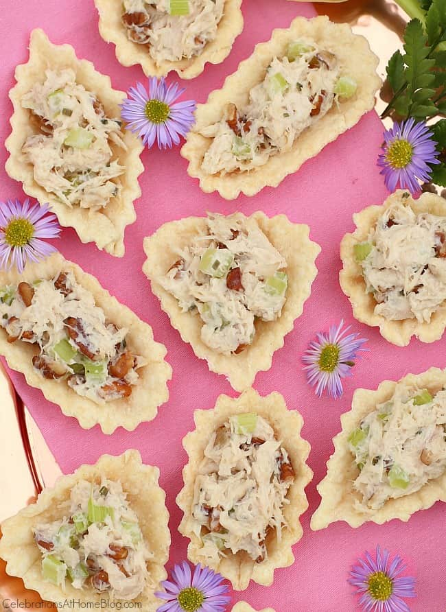 These honey chicken salad cups for an appetizer party or girls night in.