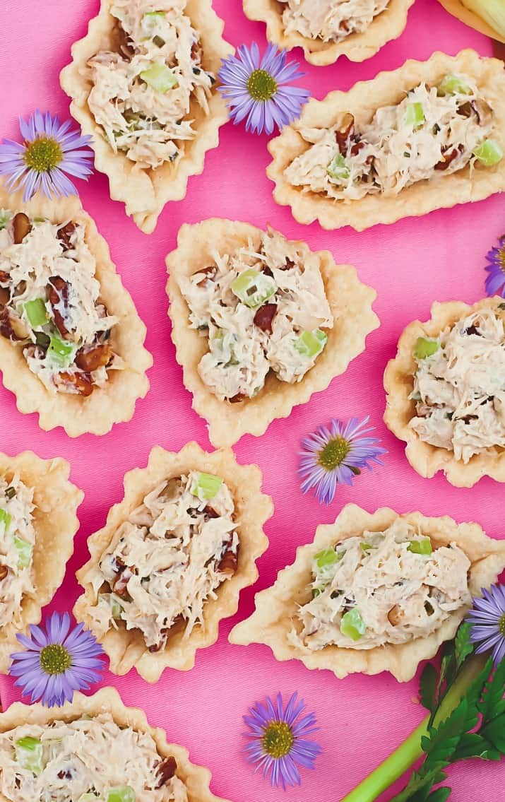 honey chicken salad cups appetizers on pink background