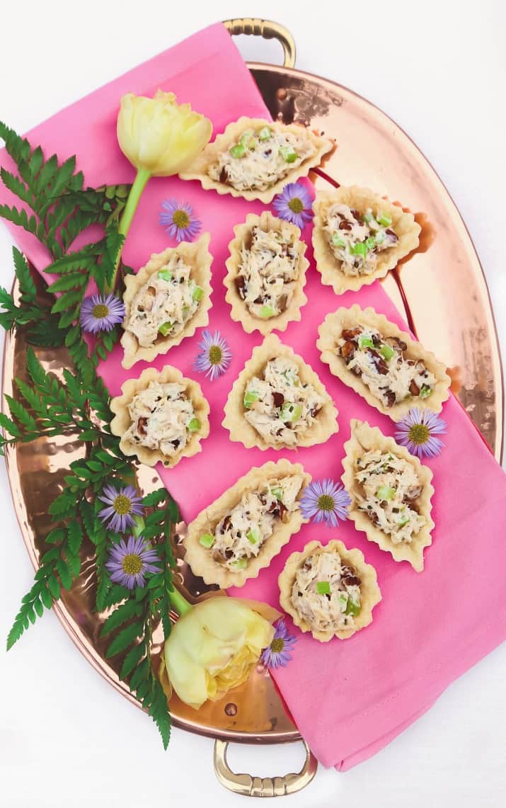 party appetizers honey chicken salad cups recipe on tray