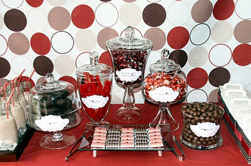 Red & 'Chocolate' Sweets Table