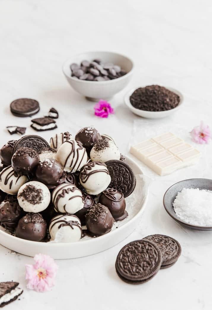 bite size dessert balls with ingredients in bowls