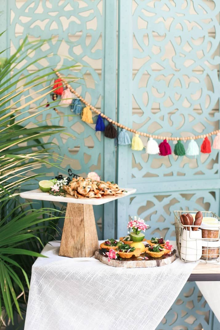 Outside summer party food buffet with blue background