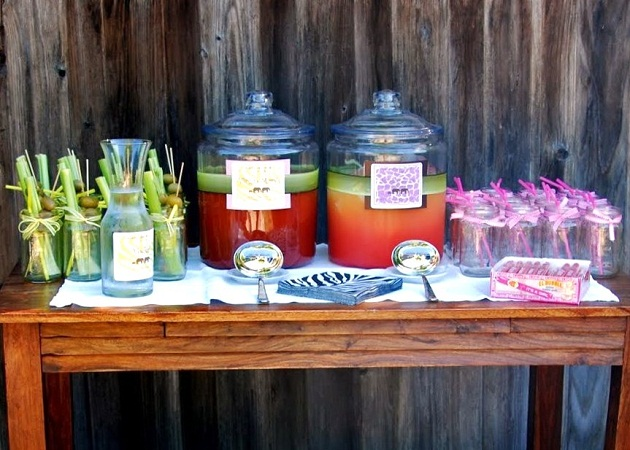 Jungle fever baby shower guest feature celebrations at home guests were welcomed by hanging monkeys in onesies and a bar set up with jungle juice have you ever seen anything so fun whimsical and creative negle Gallery