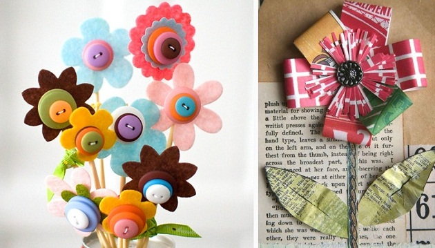 Crafty flowers celebrations at home some great materials to use are felt scrapbook paper tissue paper hand made paper newspaper print even an old phone book as seen above mightylinksfo