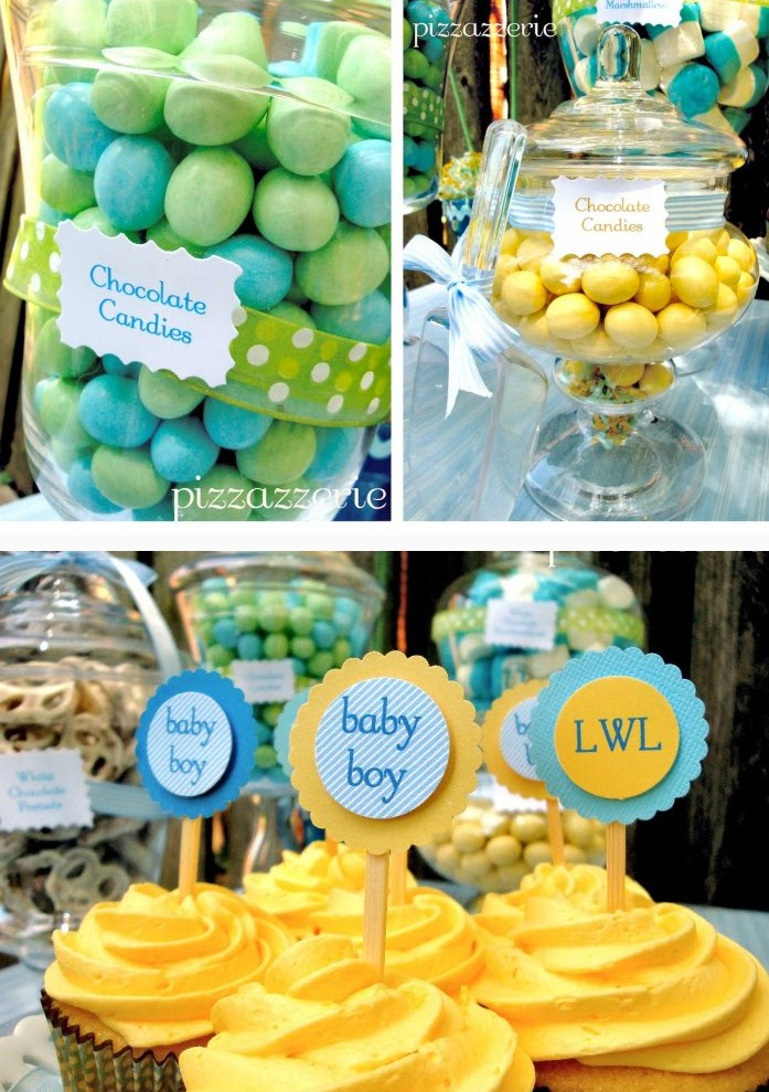 pale blue yellow baby shower guest feature celebrations at home
