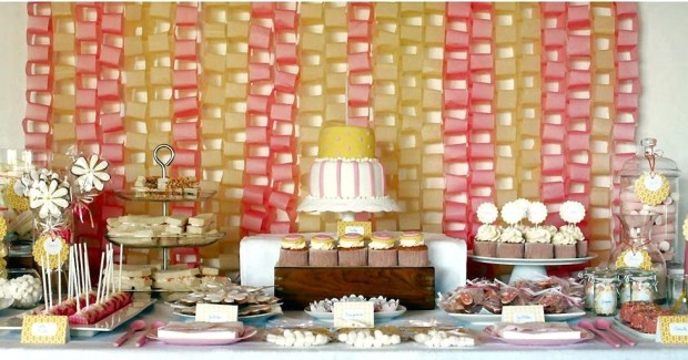 pink & yellow dessert table