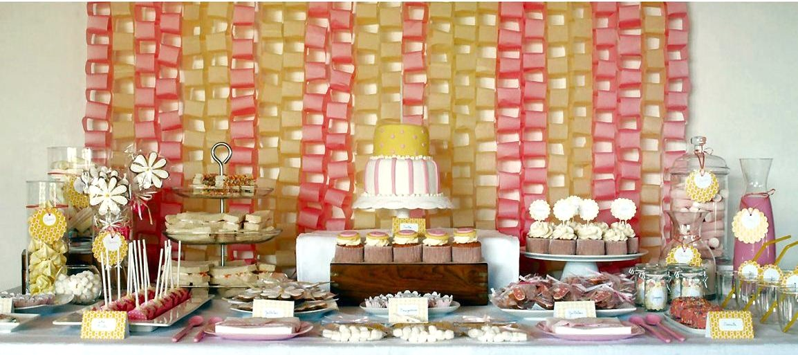 Pink yellow dessert table guest feature celebrations for Table 52 dessert