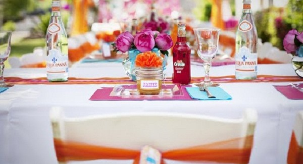 bright baby shower table setting
