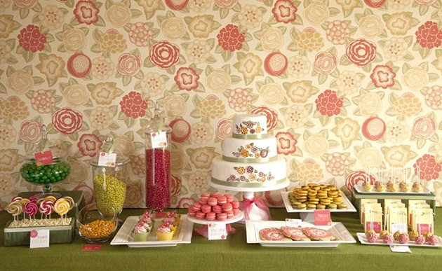 Wall Paper-Inspired Dessert Table