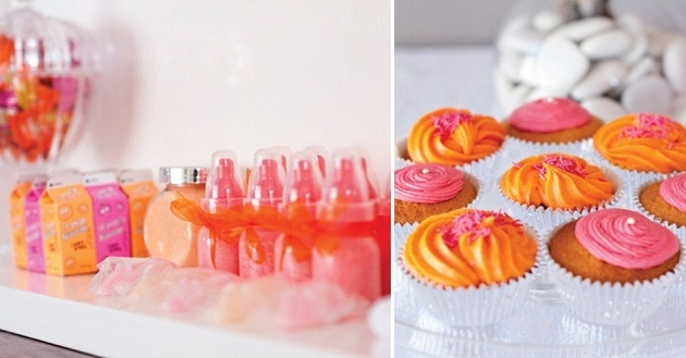 Orange And Pink Baby Shower Image Cabinets And Shower Mandra