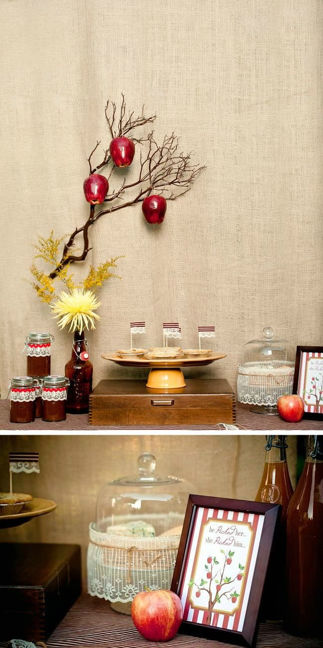 Host an autumn engagement party with an apple theme. See this apple themed dessert table plus more ideas and details here.