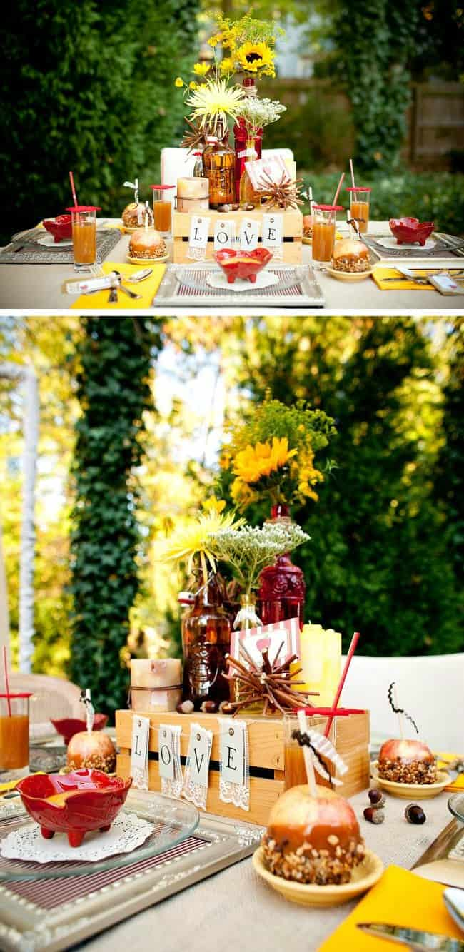 """Host an Autumn Engagement Party with an """"apple of my eye"""" harvest theme. See ideas and details here."""