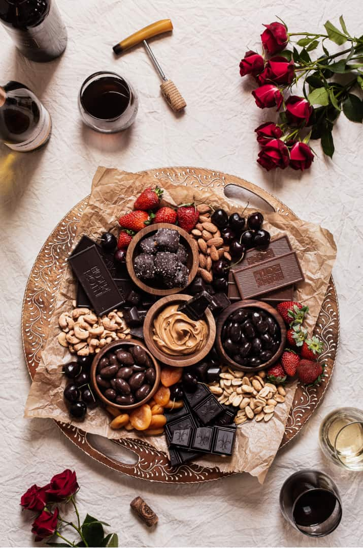 chocolate charcuterie board overhead view