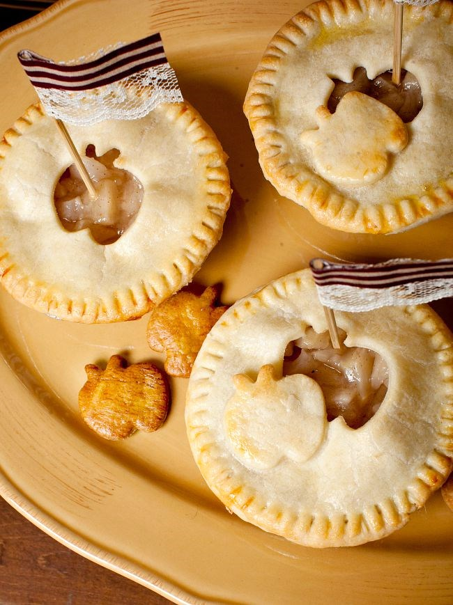 9 simple ideas to dress up food for entertaining - garnish mini pies with pastry cutouts.