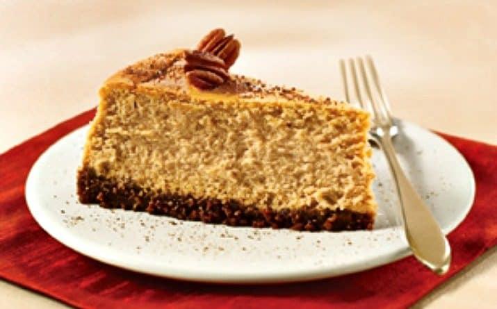spiced pumpkin cheesecake slice