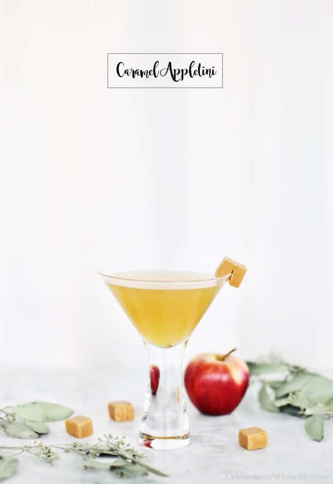 Enjoy Autumn Cocktails with this Caramel Appletini. This cocktail hits the spot with a delicious blend of flavors that go down smooth! #cocktails #autumncocktails #martini #holidaycocktail