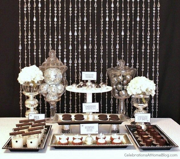 black & white Glam dessert table