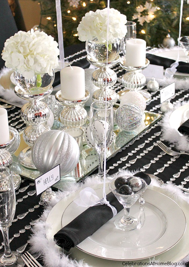 Black, white, silver holiday table setting
