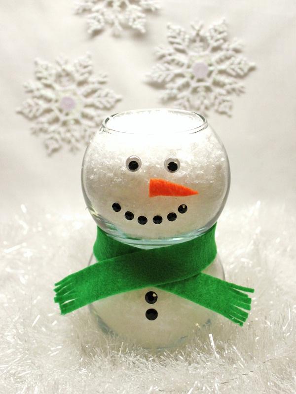 Glass Vase Snowman Celebrations At Home