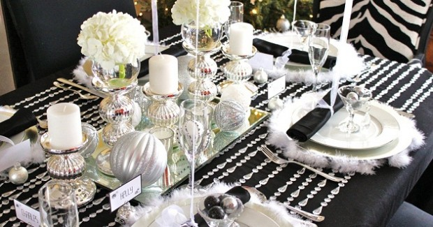 Black & White & Silver Holiday Table