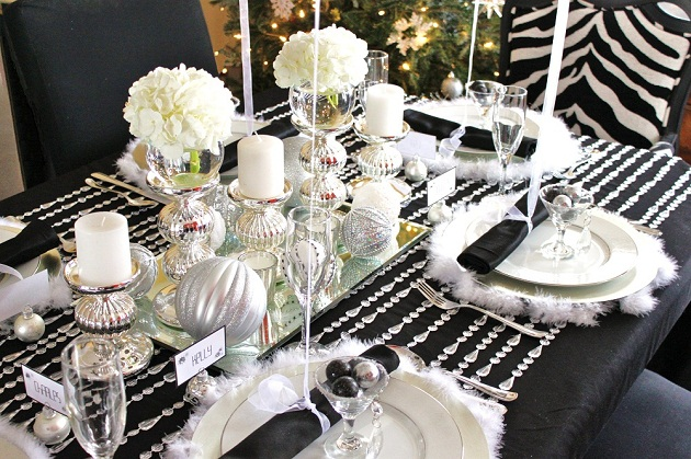 Black Amp White Amp Silver Holiday Table Celebrations At Home