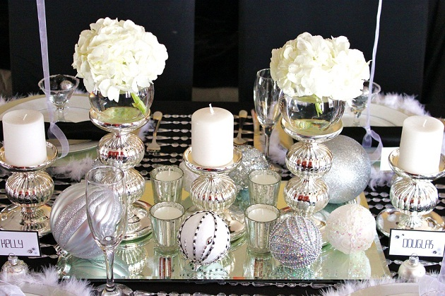 black white silver holiday table celebrations at home. Black Bedroom Furniture Sets. Home Design Ideas
