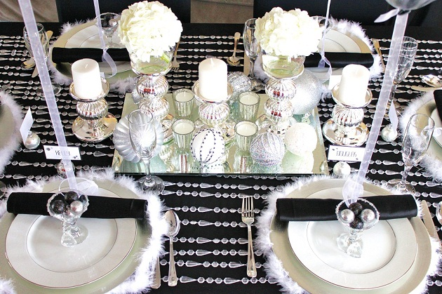 Black white silver holiday table celebrations at home for Black and white tablescape ideas