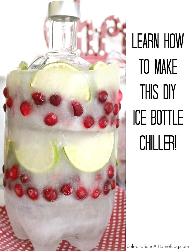 Don't you love this diy ice bottle cooler! It's a great way to keep vodka or wine chilled during a party. Find out how to make it here.