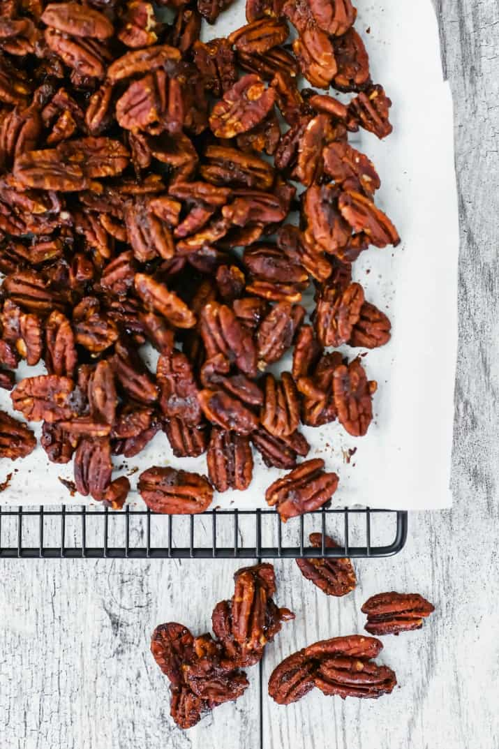 sweet & spicy pecans recipe on cooling rack overhead view