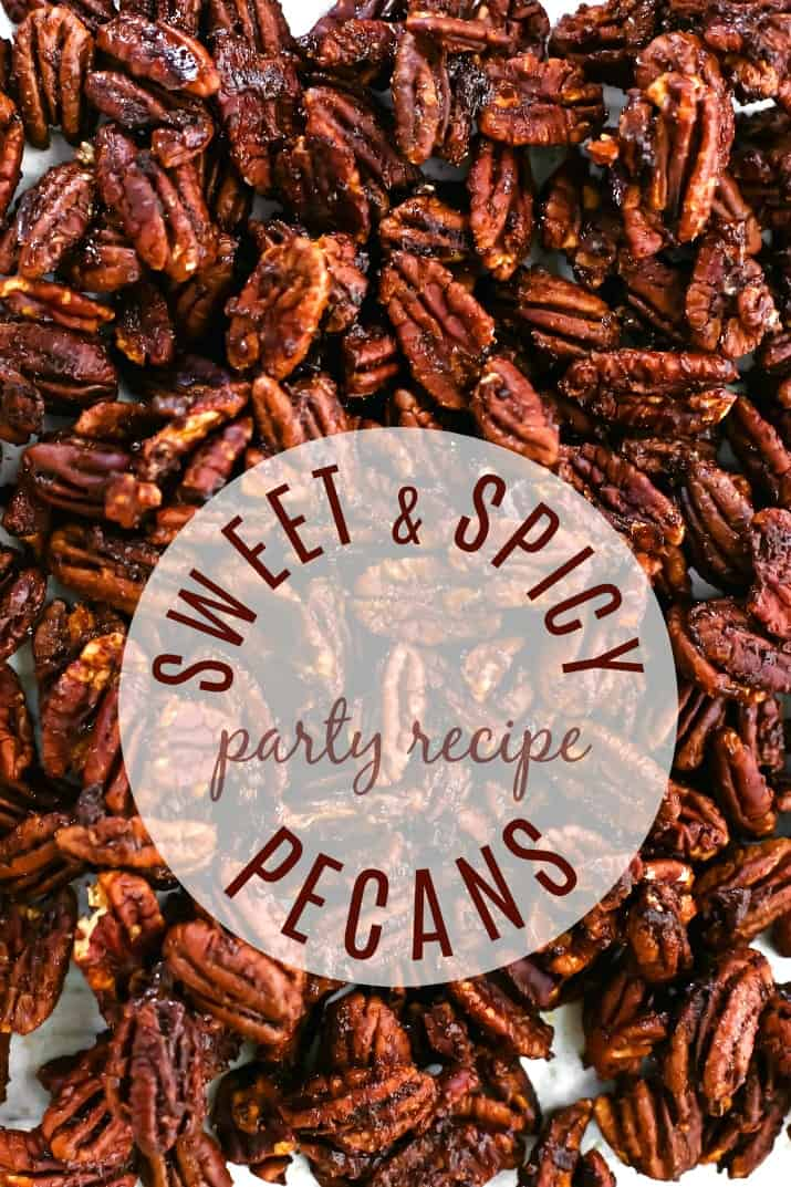 sweet spicy pecans overhead with text overlay