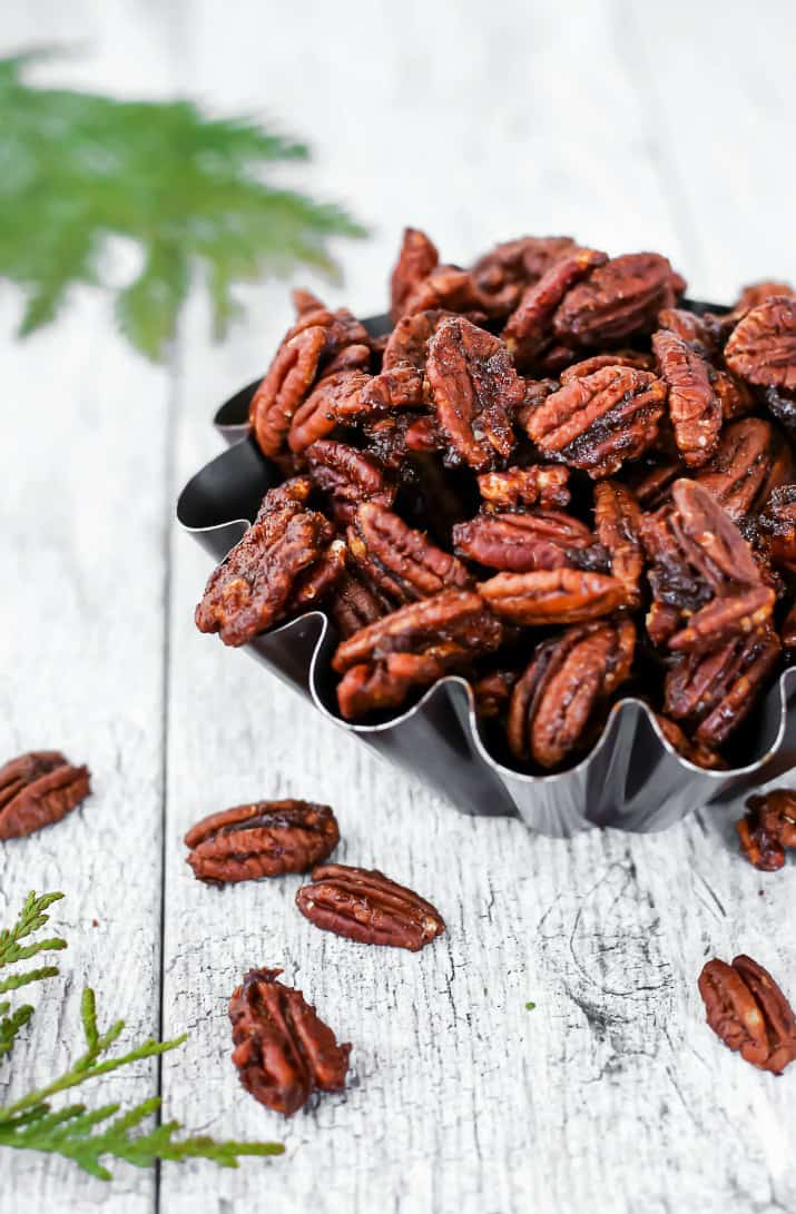 sweet & spicy pecans in fluted bowl