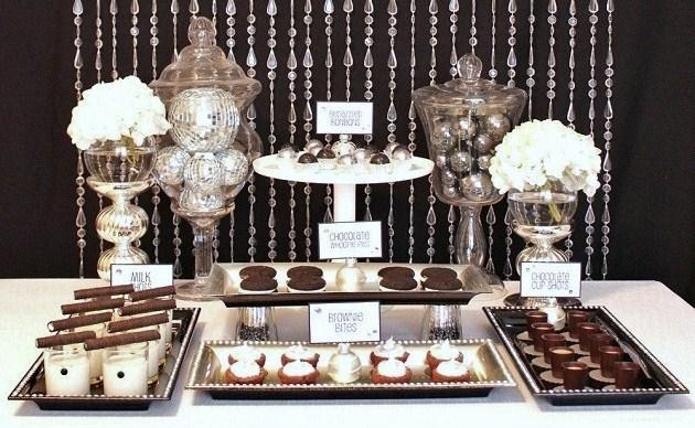 Black & White & Glamorous Sweets Table
