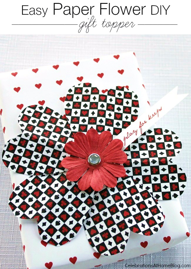easy paper flower gift topper