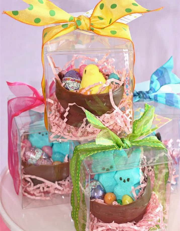 DIY Chocolate Easter Bowl filled with candy and place in clear favor boxes