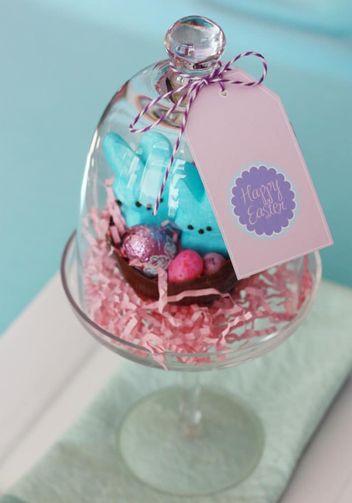 DIY Chocolate Easter Bowl under glass cloches