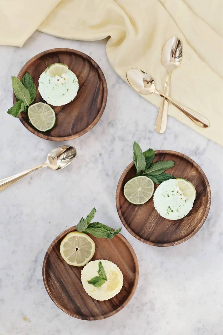 lemon & lime tartlets recipe on wood plates