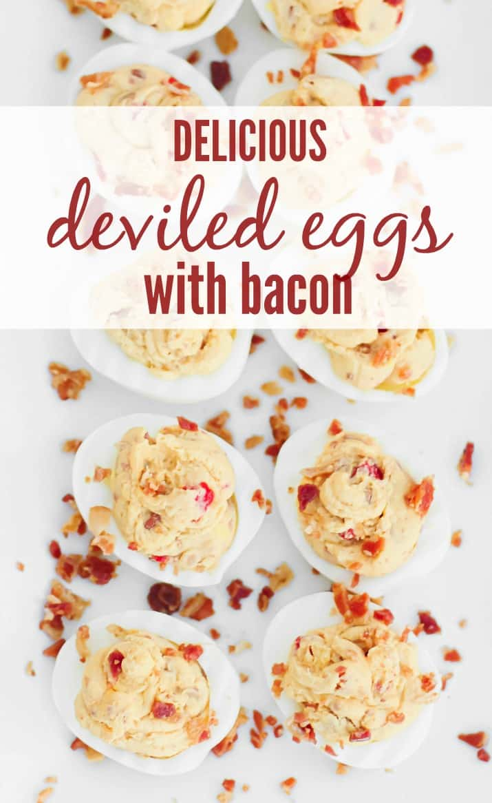 Delicious Deviled Eggs With Bacon on white dish with text overlay