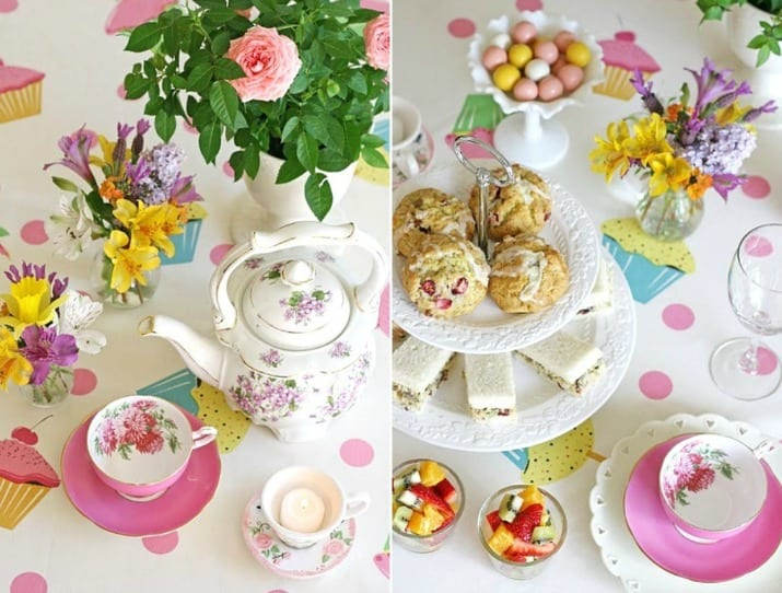 tea party table collage