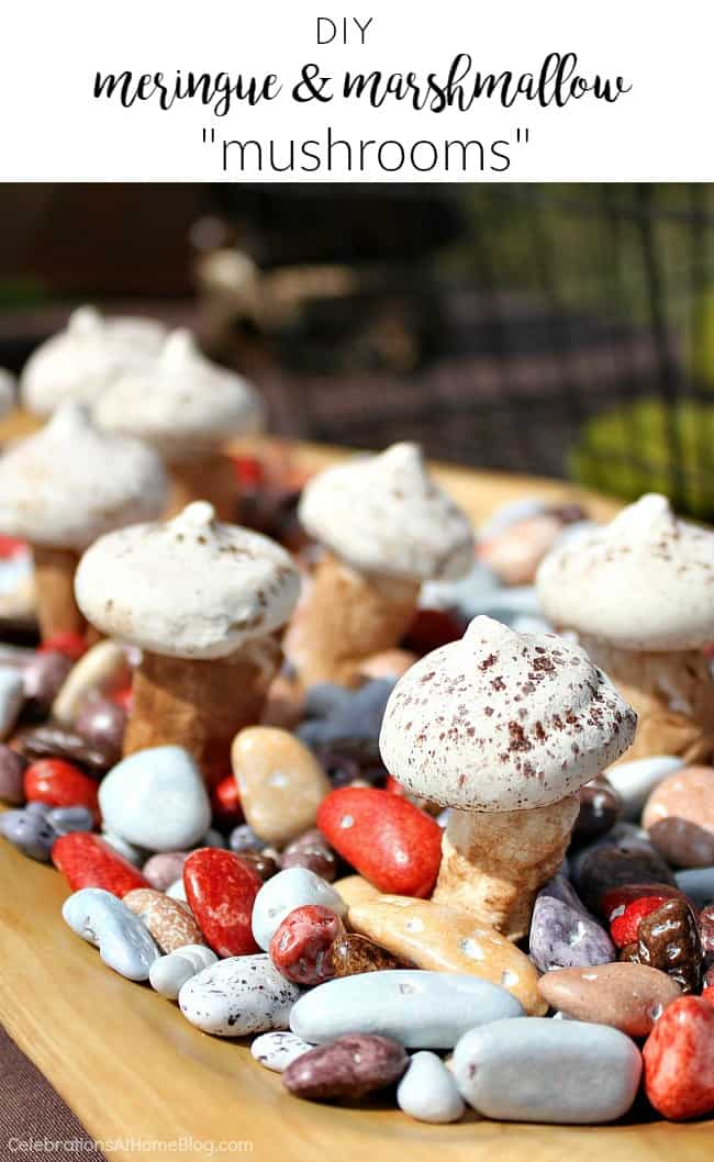 Find out how to make these diy meringue and marshmallow mushrooms for a fun party treat.