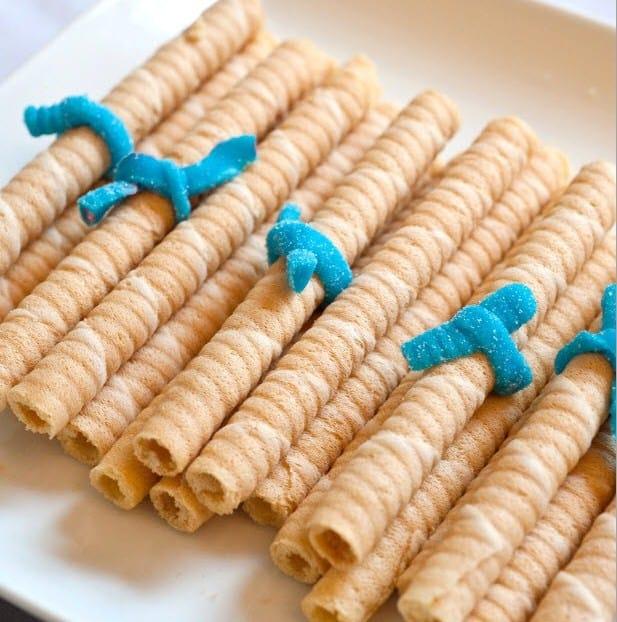 rolled cookies tied like diplomas