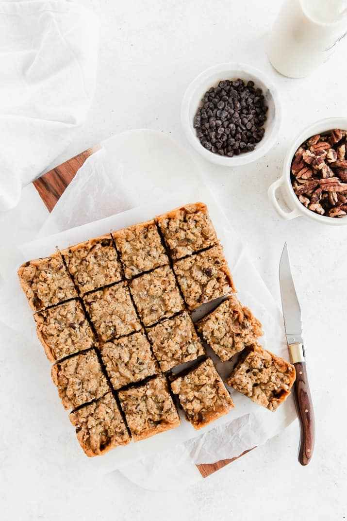 oatmeal chocolate chip bars in 8x8 pan