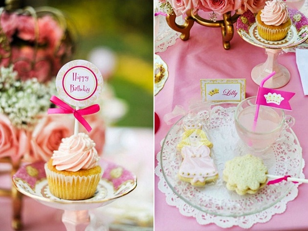 pink princess tea party tabletop details
