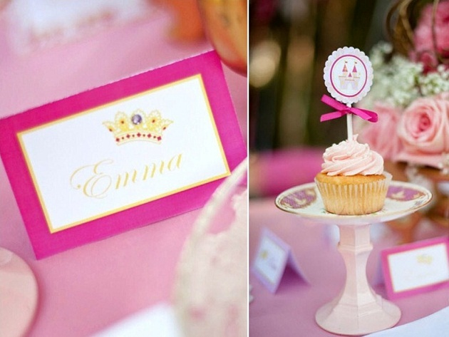 pink princess tea party cupcake pedestal and name card