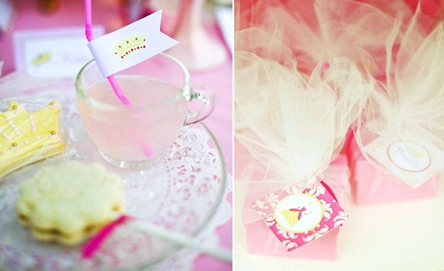 pink princess tea party cup of punch and gifts